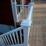 A composite deck railing and western red cedar decking in Storrs CT