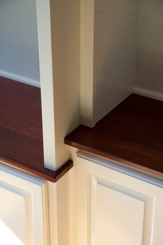 This image shows the detail work in a custom made built-in cabinet.