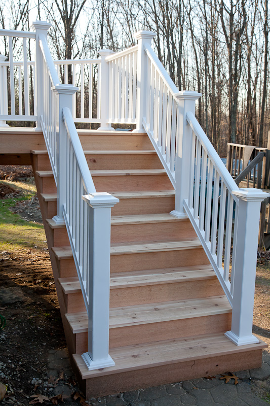 Cedar deck stairs with Azek composite railing in Mansfield CT