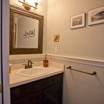 Chair rail and crown moldings in a bathroom remodel. Coventry, CT