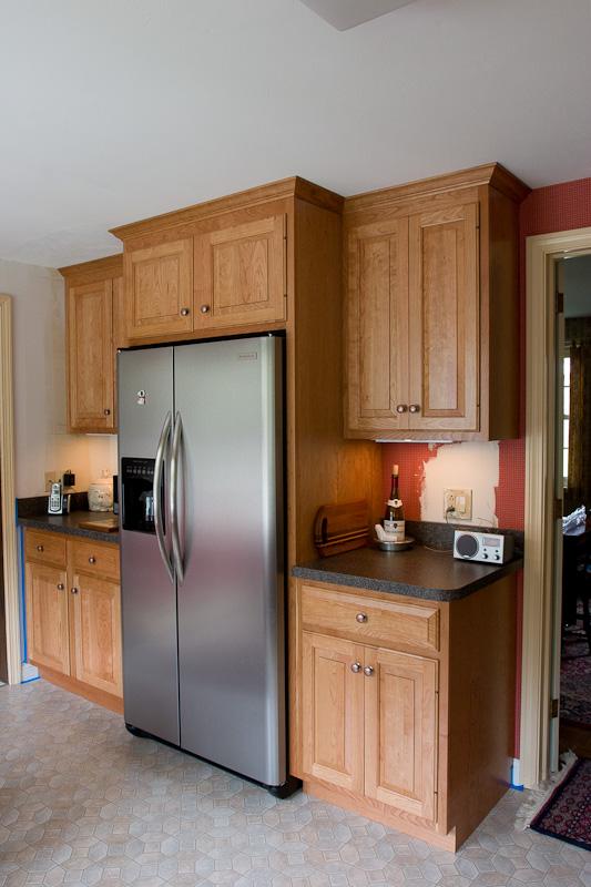 Custom built natural cherry kitchen cabinets. Glastonbury, CT
