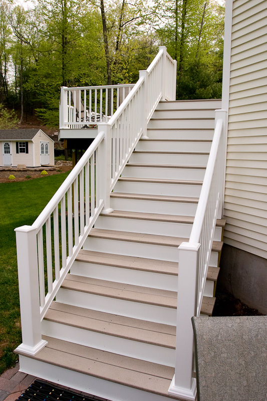 Composite deck stairs and railing in Glastonbury, CT