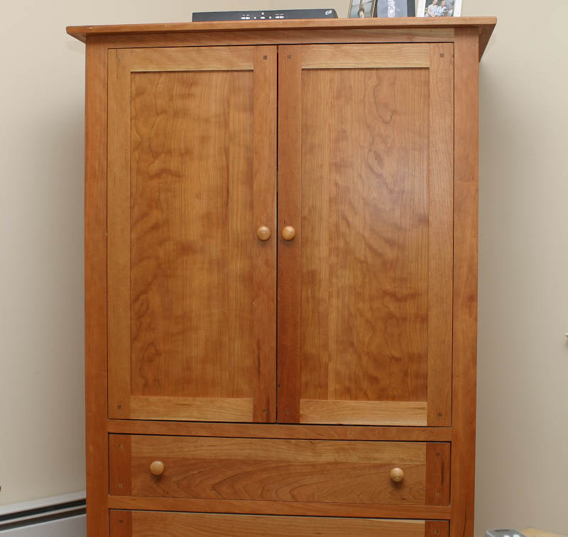 Custom built cherry tv cabinet possible armoire cabinet use - Custom made cabinet ...