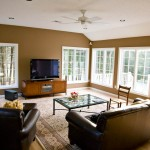 Interior shot of a family room addtion that we built in Rocky Hill CT featuring casement windows.