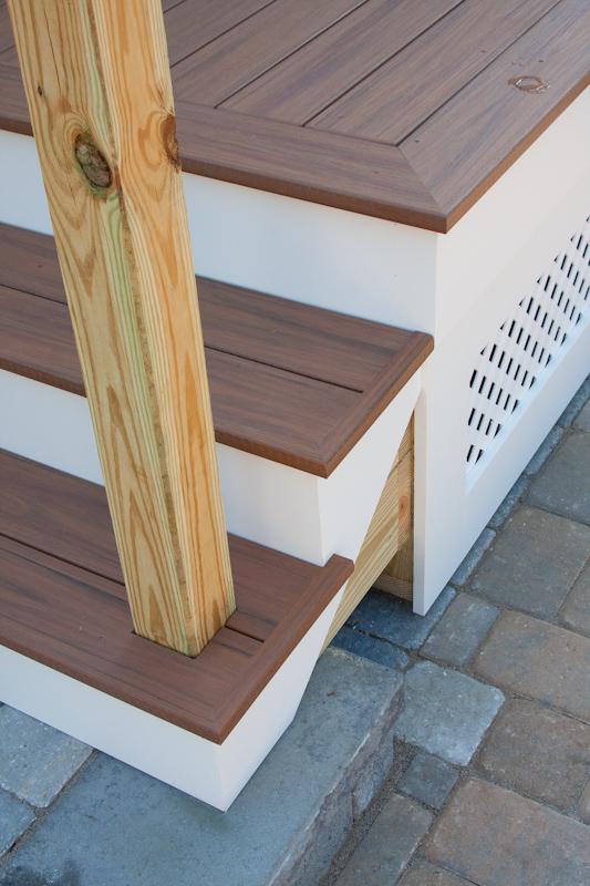 A porch renovation in glastonbury ct by bailey carpentry for Composite exterior stair treads