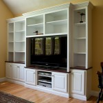 Painted built-in TV cabinet and bookcase with solid cherry accents by Coventry CT cabinet maker Bailey Carpentry