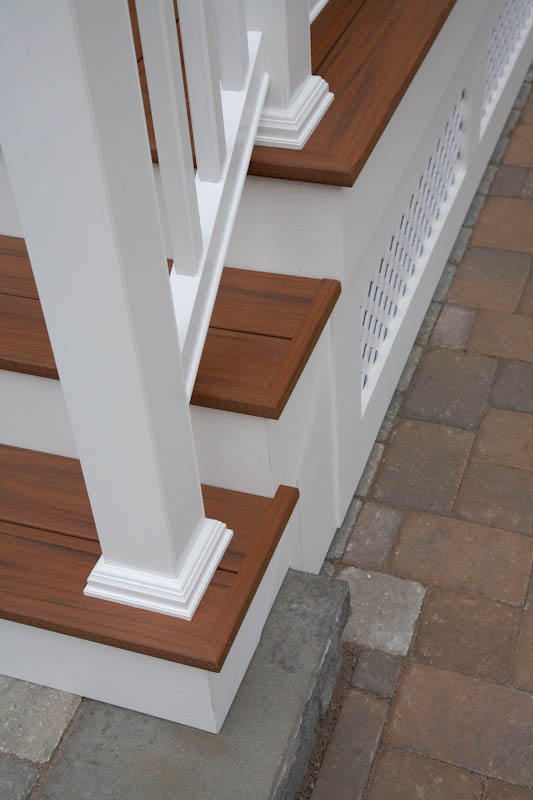 Image of porch stairs with composite risers and treads in Glastonbury, CT