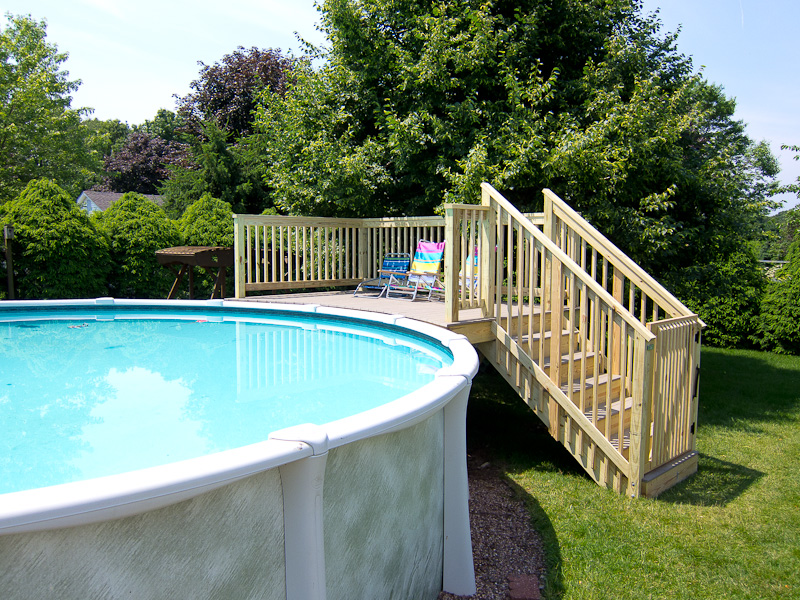 Pressure treated and composite pool deck and stairs in Glastonbury, CT