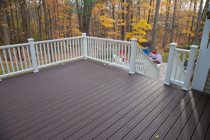 Resurfaced deck bolton ct bailey carpentry for Brown treated deck boards